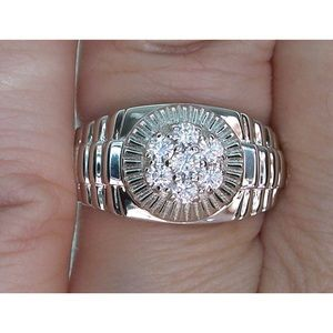 925 STERLING SILVER Men's 7 Stone CZ Cluster Ring